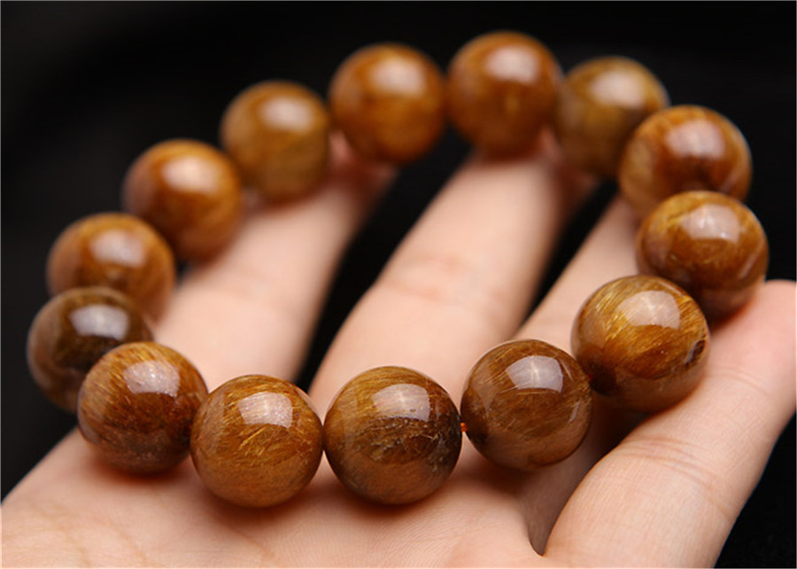 16mm Natural Copper Hair Rutilatd Quartz Cat Eye Gemstone Woman Man Stretch Big Crystal Round Bead Bracelet AAAAA(China)
