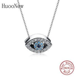 925 Sterling Silver Animal Turkish Evil Eye Blue Clear Zirconia Stone Pendant Necklace Women Girl Choker Student Trinket Fashion