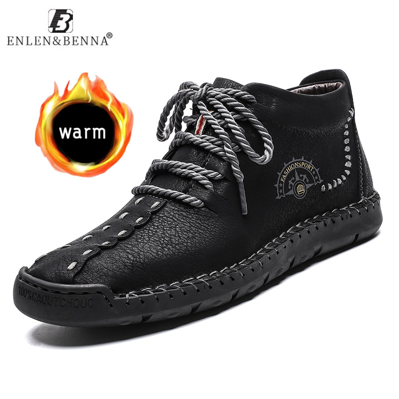 Hot Sale Men Boots Winter Warm Leather Snow Boots High Quality Ankle Shoes With Fur Plush Men's Breathable Footwear Big Size 48