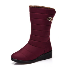 2019 Mid-Calf Boots Women Winter Female Thick Fur Sow Shoes Warm Waterproof Footwear