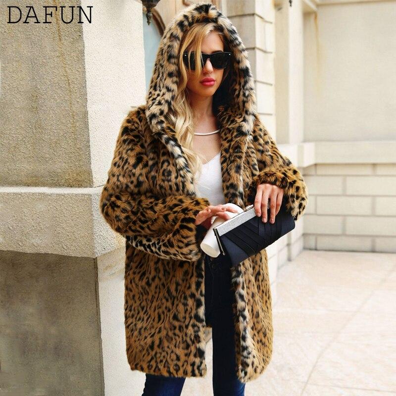 Leopard Faux Fur Coat Winter Hooded Long Jacket Coat Chaqueta Mujer Manteau Femme Fashion Women Streetwear Outerwear