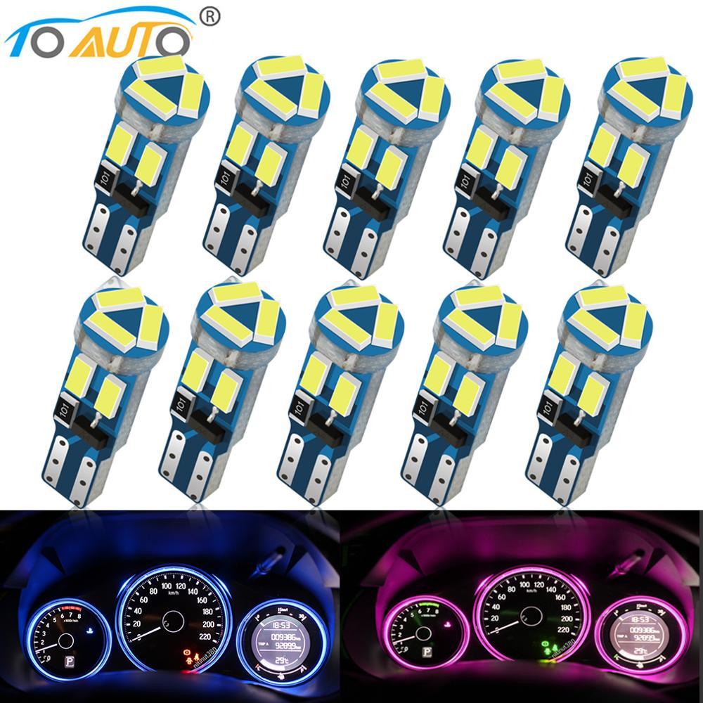 10 шт. T5 W3W W1.2W 27 74 86 206 7SMD 4014 светодиодный интерьер автомобиля светильник Авто клиновидные боковые светодиодный Авто габаритный фонарь 12V инди...