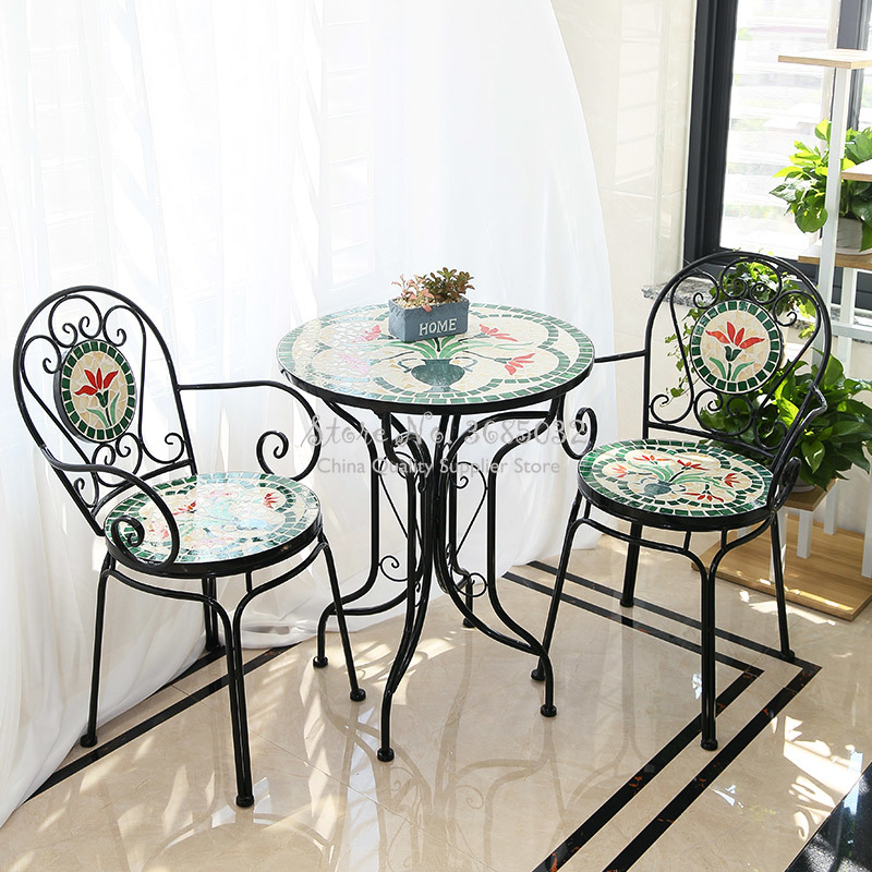 60cm American Rural Iron Art Retro Outdoor Folding Table & Chair Suite Outdoor Courtyard Table And Chair Garden Balcony