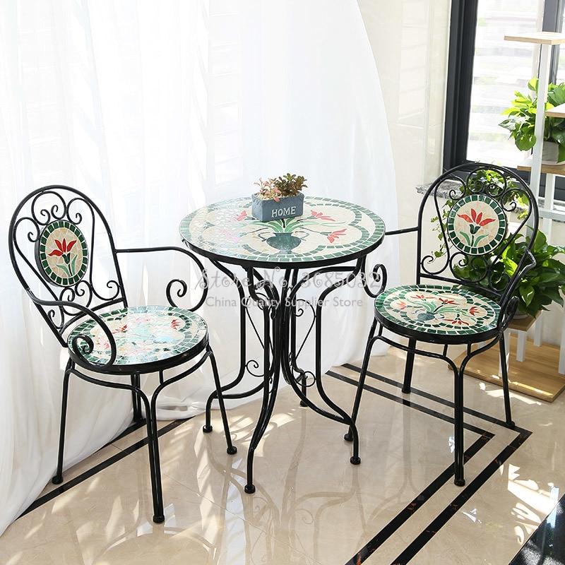 60cm American Rural Iron Art Retro Outdoor Folding Table & Chair Suite Outdoor Courtyard Table And Chair Garden Balcony