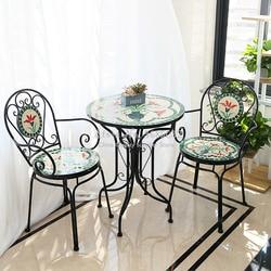 60cm American Rural arte del hierro Retro al aire libre plegable mesa y silla Suite al aire libre patio mesa y silla jardín balcón