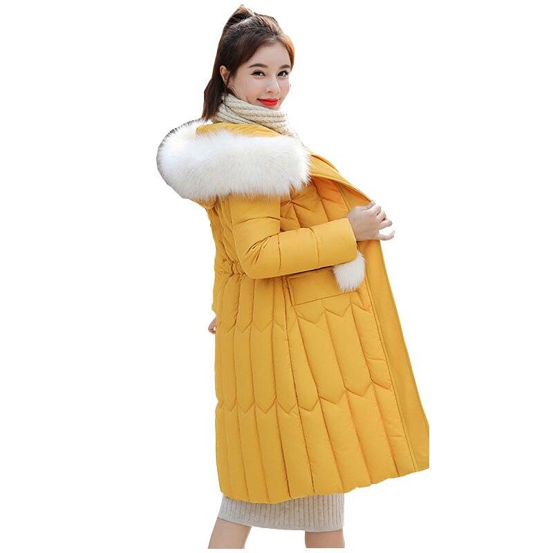 Chic Fur Coat Hooded Winter Down Coat Warm Jacket Plus Size Long Slim Women Cotton Padded Wadded Parkas Female Jacket 9 Colors