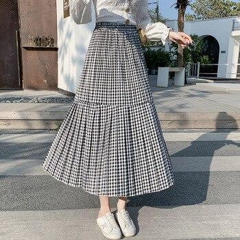 2020 Spring Summer Plaid Pleated Skirt Elastic High Waist Midi Long A-line Skirt Womans Harajuku Preppy Style Vintage Skirt plaid a line midi skirt