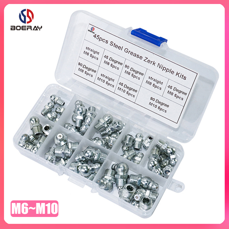 45pcs Metric Size M6 M8 M10 Steel Zerk Grease Nipple Fitting Kits 90 Degree And 45 Degree And Straight Grease Zerk Nipple Kit