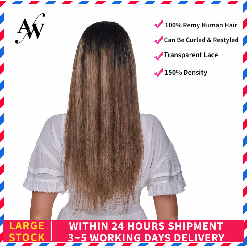 AW 20'' HD Transparent Lace Frontal Wigs Pre Plucked Hairline Remy Human Hair Wig For Women 150% Density Brown Mix Blond