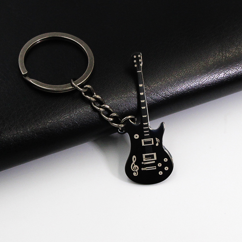 Hot Sale Classic Guitar Key Chain Car KeyRing Stainless Steel Guitar Keychain Silver Pendant For Man Women Gift  Jewelry K2402