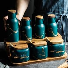 Ceramic Kitchen Seasoning Pot Combination Set Household Double-layer Oil Salt Sauce and Vinegar Seasoning Box Ceramic Oil Bottle