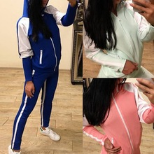2019 Vertvie Women Solid Color Tracksuit Long Sleeve Sports Suit Slim Fit Hooded Casual Set Top Sweatshirt Side Pants 2pcs