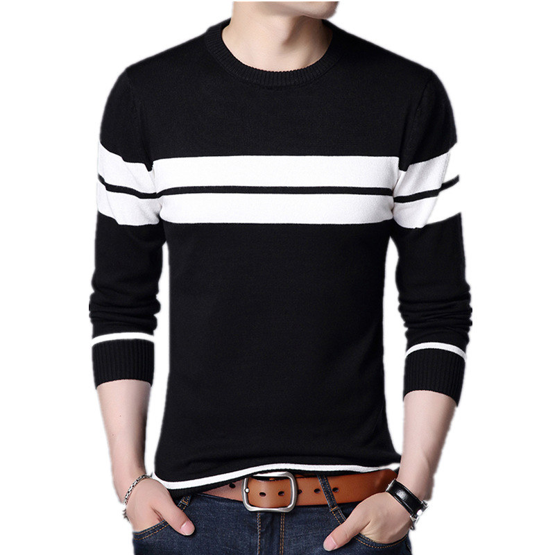In the spring of 2020 men new stripe of cultivate one's morality round collar thin sweater sweater youth 4