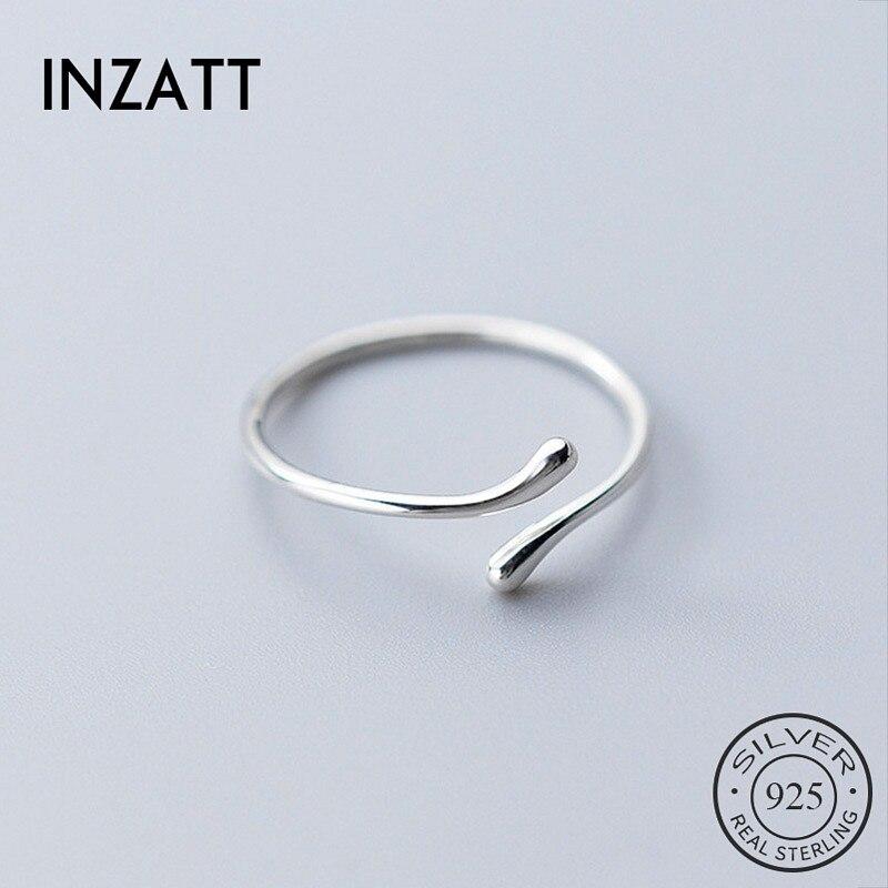 INZATT Real 925 Sterling Silver Geometric Adjustable Ring For Fashion Women Party Fine Jewelry Minimalist Punk Accessories