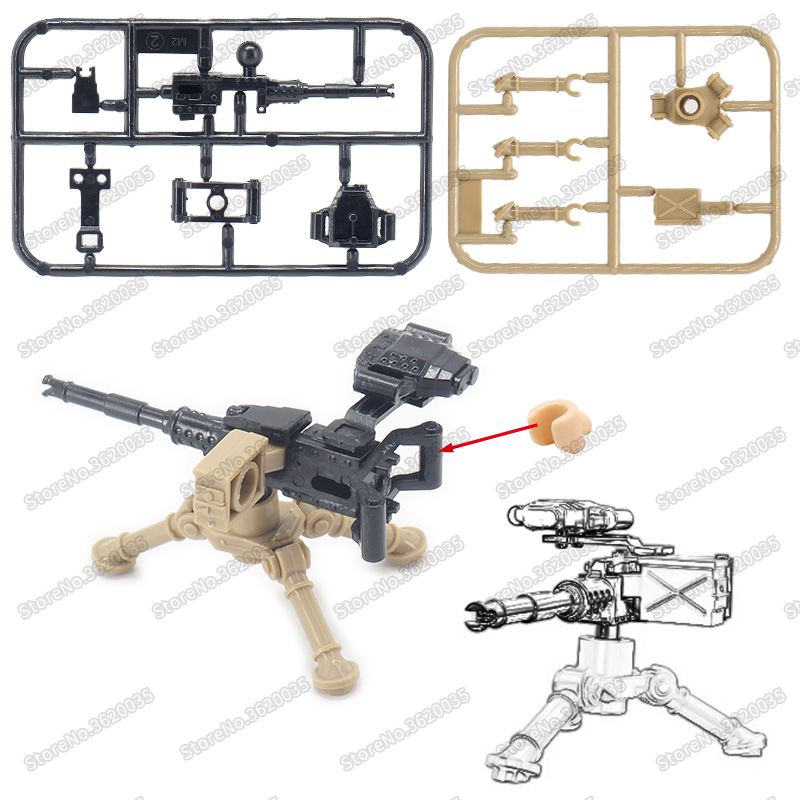 Legoinglys Military Weapons M2 Heavy Machine Gun Figures Assemble Building Blocks ww2 Army Soldier Armed Moc Child Christmas Toy