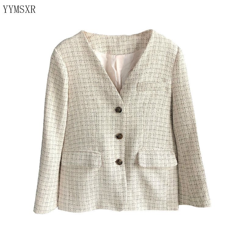 High-quality temperament women's blazer 2020 New Korean Spring and Autumn Casual Check Ladies Jacket Coat Female Elegant top