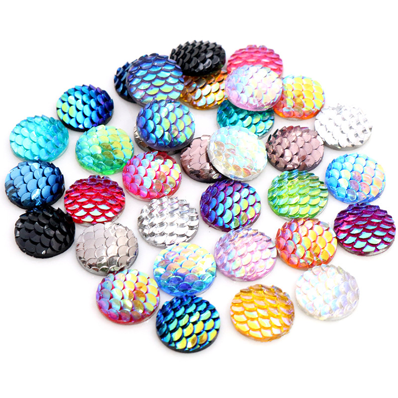 40pcs 8mm 10mm 12mm Mix Colors Mermaid Fish Scale Flat Back Rhinestone Round Cabochon Embellishment Scrapbooking DIY Crafts