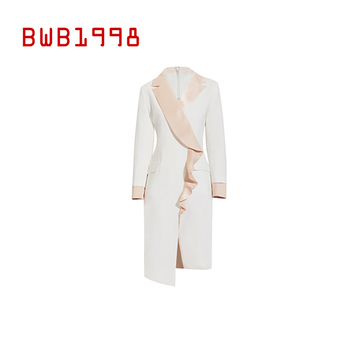 BWB1998 Autumn new product fashion long-sleeved lotus leaf contrast color dress elegant woman outfit temperament suit skirt contrast color dress