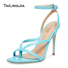 Blue High Heel Sandals 2020 Womens Heeled Thong Sandal Summer Shoes Woman Size 12 Ankle Strap Fashion Strappy Heels for Women