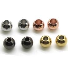 50 pçs/lote 2 3 4 5 6 8 mm aço inoxidável rosa ouro preto espaçador grânulos charme solto contas diy pulseiras para fazer jóias