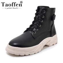 Купить с кэшбэком Taoffen Women New Fashion Plus Size 29-46 Warm Ankle Boots Thick Sole Pu Leather Casual Winter Shoes Woman Short Summer Footwear