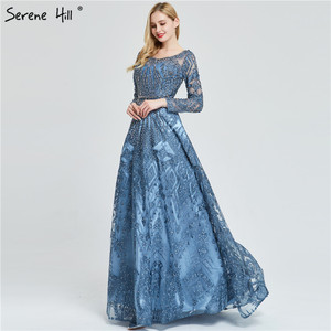 Image 1 - Dubai Luxury Long Sleeves Prom Dresses 2020 Latest Design Navy Blue O Neck Crystal Prom Gowns Serene Hill Plus Size BLA60900