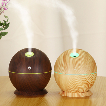 130ml Wood Grain Ultrasonic Air Humidifier With 7 Color Change LED Night Light Essential Oil Aroma Diffuser Cool Mist Maker funho 500ml air humidifier essential oil diffuser ultrasonic aromatherapy mist maker 7 color change led night light for home