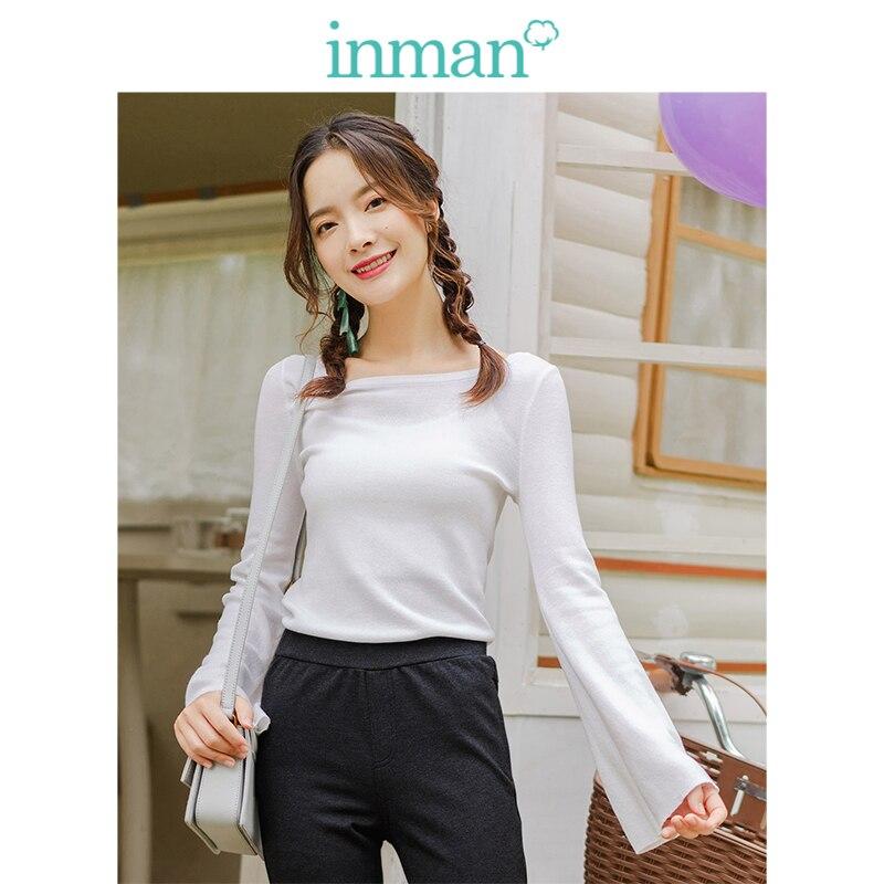 INMAN  O-neck Korean Fashion Casual Slim Flare Sleeve White Women Pullover