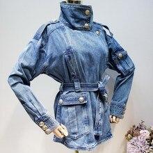 2019 New Summer Clothing Denim Jacket Streetwear Single Breasted Waist Wide Belts Slim Coat