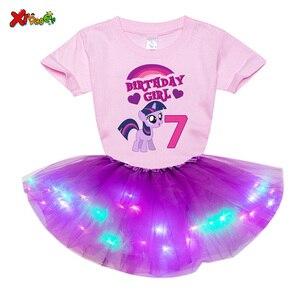 Детские комплекты с платьем для девочек, платье принцессы для девочек комплект День рождения из 2 предметов светильник платье + футболка дет...