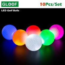 10 sztuk LED Light Up piłki golfowe Glow miga w ciemna noc piłki golfowe wielokolorowy szkolenia Golf praktyka piłki prezenty tanie tanio GLOOF CN (pochodzenie) Dwuczęściowy piłka 80-90 Standardowy