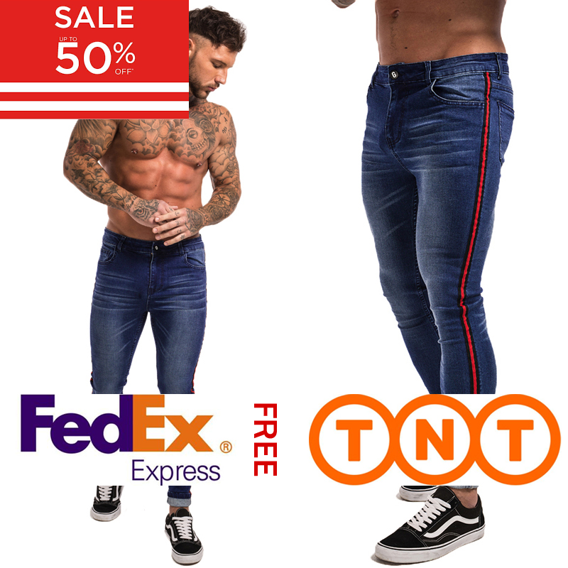 Gingtto Skinny Jeans Men Blue Tape Classic Hip Hop Stretch Jeans Hombre Slim Fit Brand Biker Style Tight Jeans Taping Male Zm20