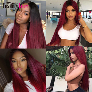 Image 2 - FASHION LADY Pre Colored Indian Hair Ombre Human Hair Bundles T1B/99J Straight Hair Weave 3 Bundles Per Pack Non Remy