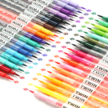 6/12/24/36 Colors Brush Pen Set Dual Tip Fineliners Drawing Markers Bullet