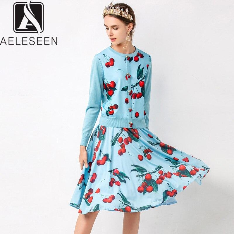AELESEEN Sweet Fruit Print Twinset High Street Knitting Cherry Button Pullover Sweater Tops + Elegant Chiffon Midi Skirt Sets