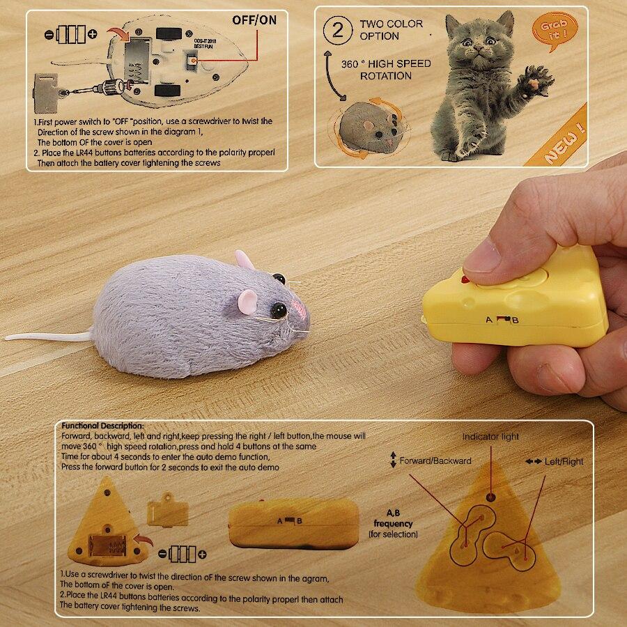 Control remoto electrónico inalámbrico rata de Control felpa RC Mouse Toy Hot flocado emulación juguetes rata para gato perro, broma truco aterrador Juguetes|Animales y robots radiocontrol| - AliExpress