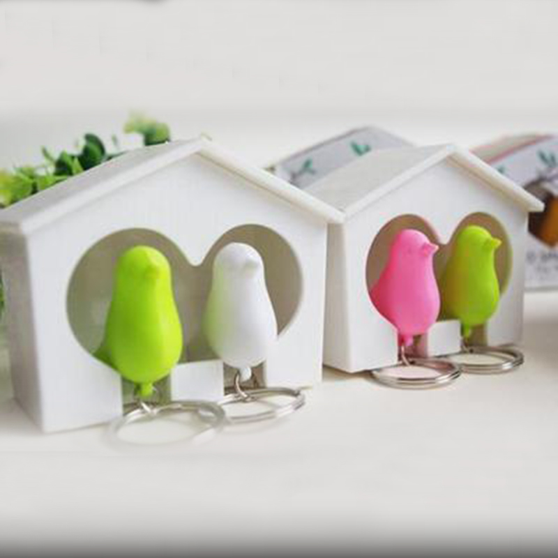 1set New Arrival Lover Sparrow Birdhouse Keychain Home Wall Hook Bird Nest Holder Key Ring Gifts