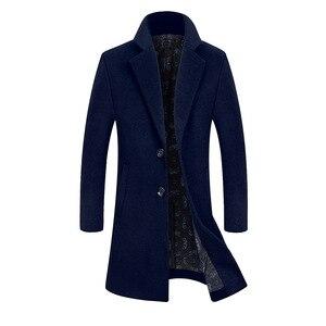 Image 3 - FGKKS מותג גברים החורף מוצק צבע צמר תערובת מעיל באיכות גבוהה גברים של אופנה חדשה חם עבה צמר מעיל Slim fit זכר תערובת