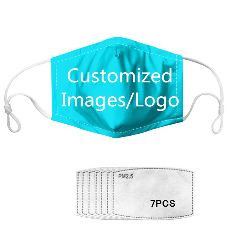 FORUDESIGNS Customized Your Logo/Images Masks With 7 Pieces PM2.5 Activated Carbon Filters Insert Protective Filter Anti-pollute