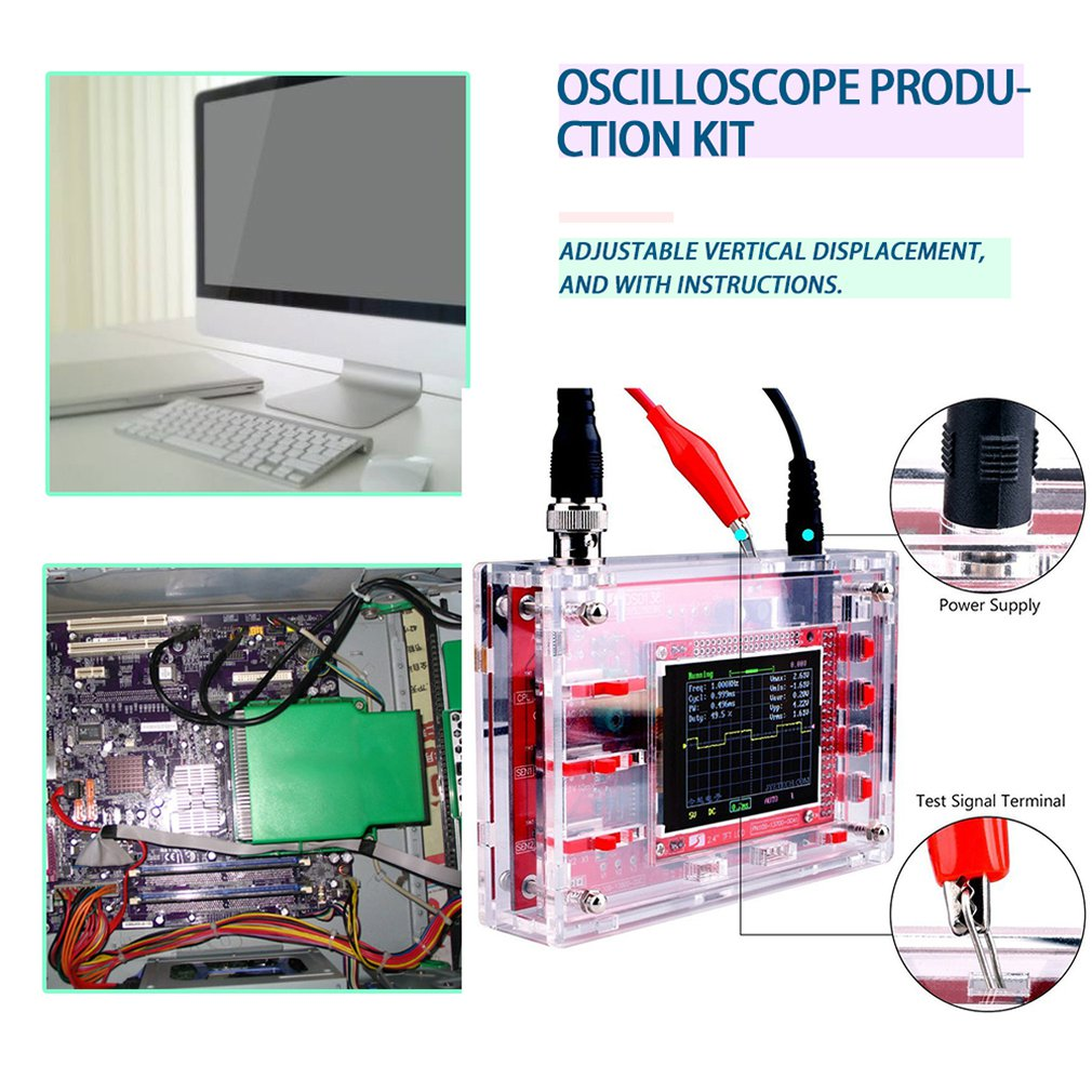 DSO138 2.4 Inch TFT Digital Oscilloscope 1Msps Real Time Sampling Rate Assembled Welded/DIY Parts Kit/Acrylic image