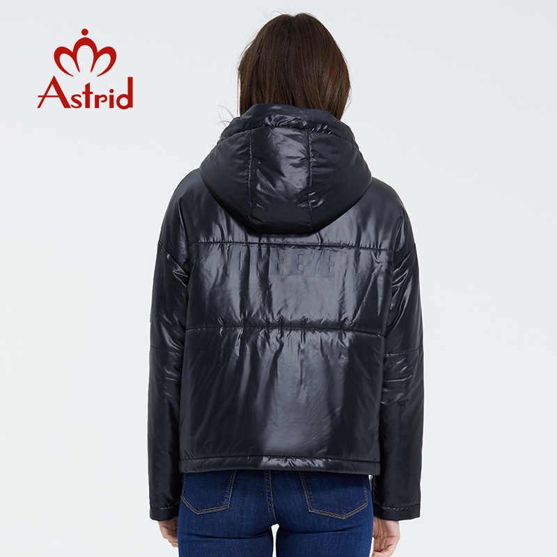 Astrid 2020 봄 여성 파카 모자 디자인 얇은 면화 캐주얼 겉옷 고품질 짧은 의류 밝은 색상 ZM-3083