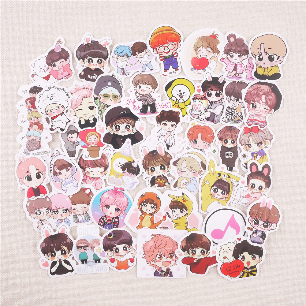 Winzige 40Pcs Waterproof Stickers Set Korea Kpop Star Sticker Decorate Journal Trunk Phonecase Lovely Adhesive Paper Supplies