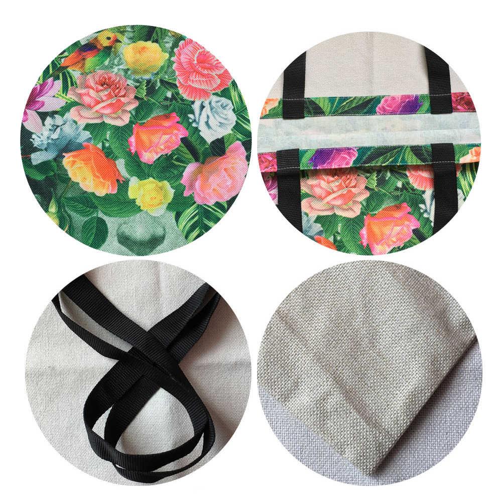 2018 חדש סגנון דפוס Bolsos Mujer תיק לנשים Tatoos אמנות פרח גולגולת אקו פשתן Tote תיק לשימוש חוזר משרד יומי