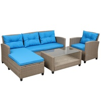 【USA in Stock】U_STYLE Living room,Outdoor, Patio Furniture Sets, 4 Piece Conversation Set Wicker Ratten Sectional Sofa with Seat