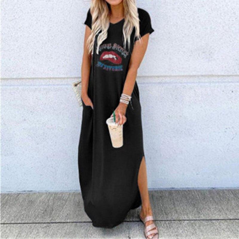 Женское Повседневное платье до щиколотки с разрезом по бокам, летние платья с коротким рукавом и принтом в виде красных губ, женское Свободное длинное платье с круглым вырезом, уличная одежда|Платья| | АлиЭкспресс