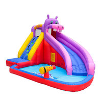Inflatable Bouncer Castle with Water Slide Park Hippo Bounce House for Kids Outdoor Garden Party Game