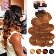 Mechones de pelo ondulado brasileño Remy 1B/30, extensiones de pelo ondulado brasileño, color marrón, 1/3/4 Uds.
