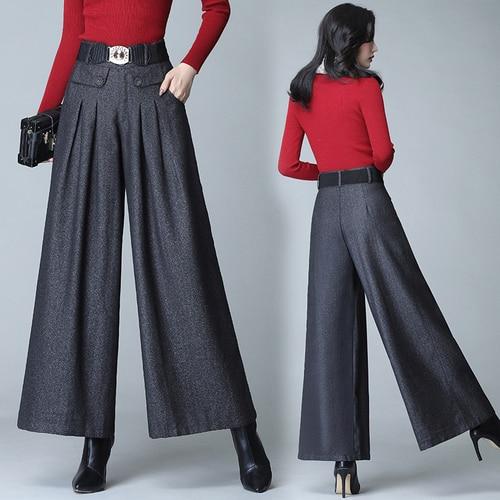 Korean Gray Wool Trousers Women High Waist Culottes Pants Plus Size Wide Pants Casual Wide Leg Pants Fashion 4xl Vintage Pants