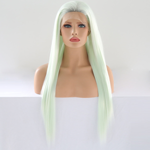 Image 2 - כריזמה Glueless פאה ישר שיער Ombre בלונדינית תחרה מול פאה קצר חום שורשים מלא צפיפות סינטטי פאות לנשים שחורות