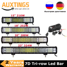 7D 15 ''18'' 20 ''23 Inci 216W 252W 288W 324W 3 Baris LED Light Bar Offroad Combo Led Kerja Lampu Bar 12V 24V Truk SUV ATV 4WD 4x4(China)